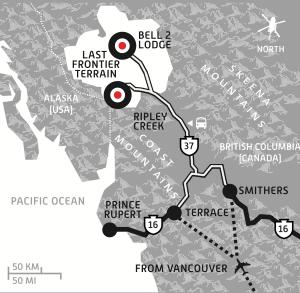 Last Frontier Heliskiing Map, Heliskiing Canada